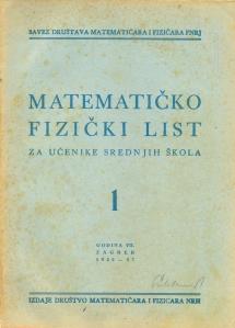 Matematičko - fizički list 1956 - 1957. broj 1