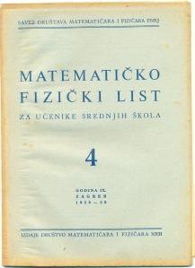 Matematičko - fizički list br.4 1958/1959.